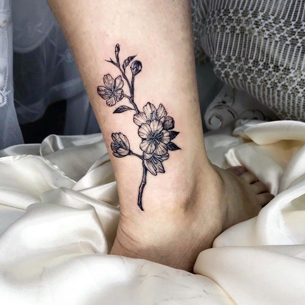 Womens Ankle Grey Cherry Blossom Tattoo