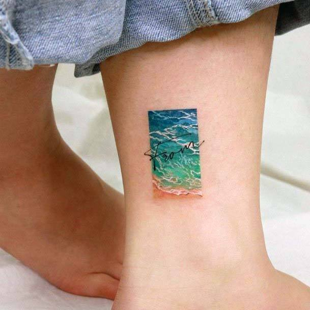 Womens Ankle Small Cute Ocean Tattoo In Frame