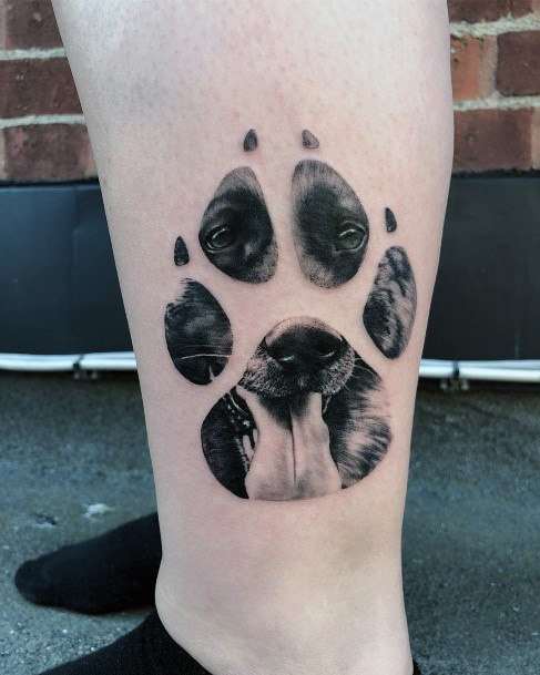 Womens Ankles Dog Paws Tattoo