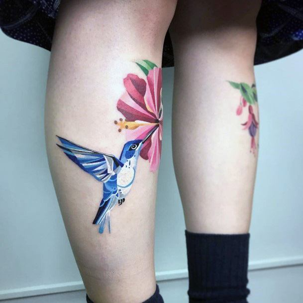 Womens Ankles Hibiscus And Hummingbird Tattoo