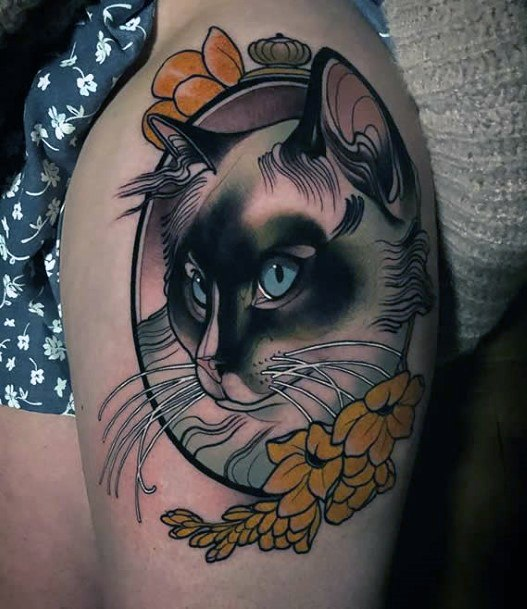 Womens Arms Cat And Yellow Flowers Tattoo