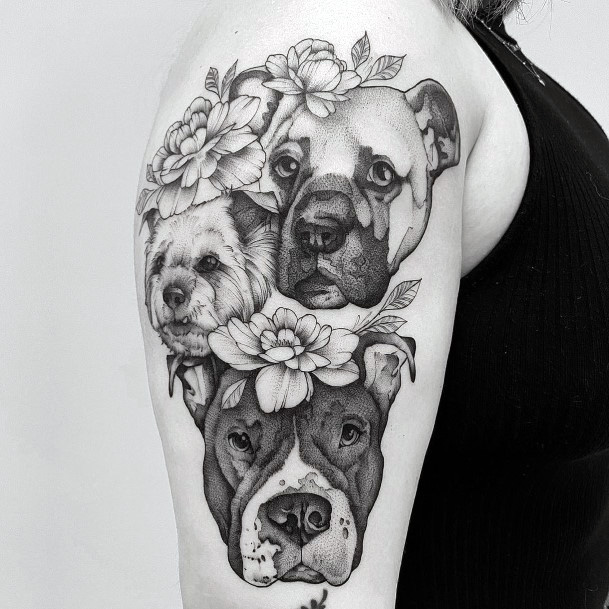 Womens Arms Dogs And Flowers Tattoo
