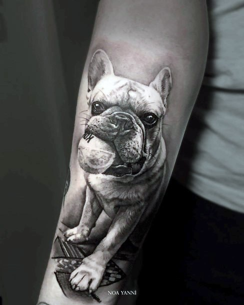 Womens Arms Pug Dog Tattoo With Flower
