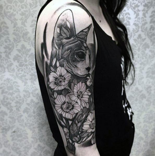 Womens Arms Spectacular Blossoms And Cat Tattoo