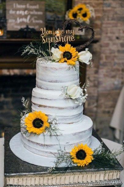 Womens Artistic Sunflower Wedding Cake