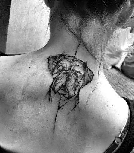 Womens Back Dog Tattoo