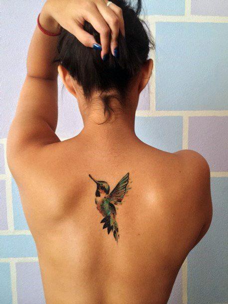 Womens Back Fluttering Hummingbird Tattoo