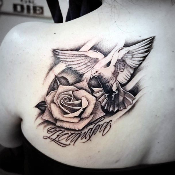 Womens Back Graceful Dove And Rose Tattoo