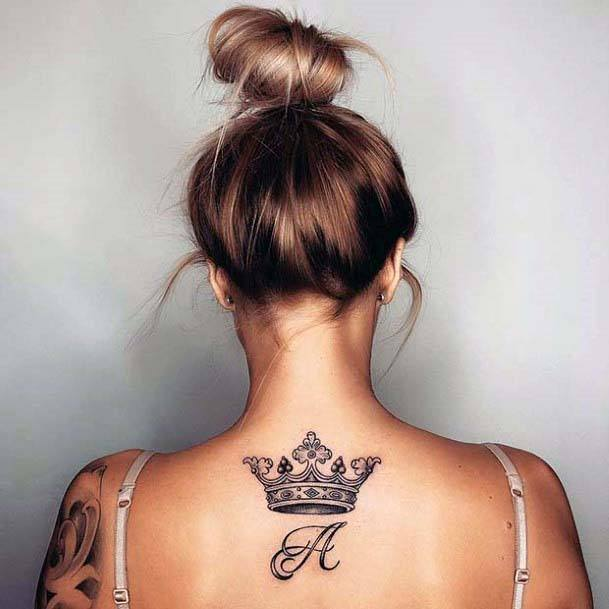 Womens Back Grand Crown Tattoo