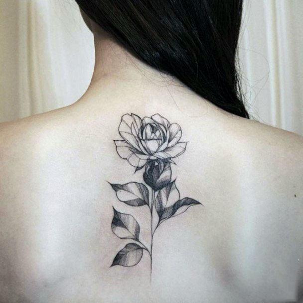 Womens Back Grey Tattoo Spine Flower