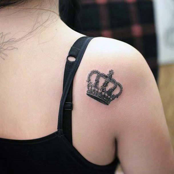 Womens Back Greyish Crown Tattoo