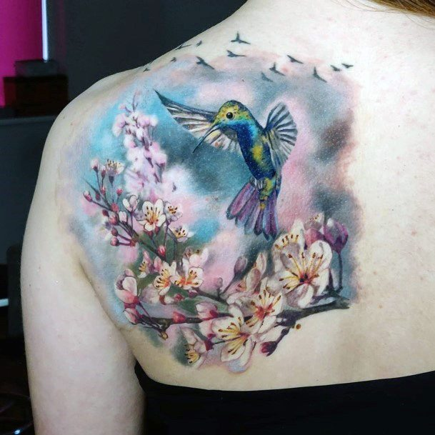 Womens Back Hummingbird And Cherry Blossoms Tattoo