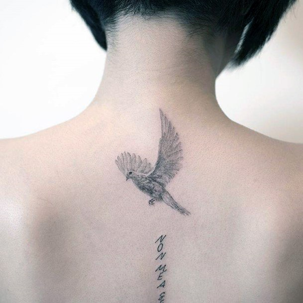 Womens Back Japanese Dove Tattoo