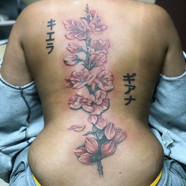Womens Back Japanese Letters And Cherry Blossom Tattoo