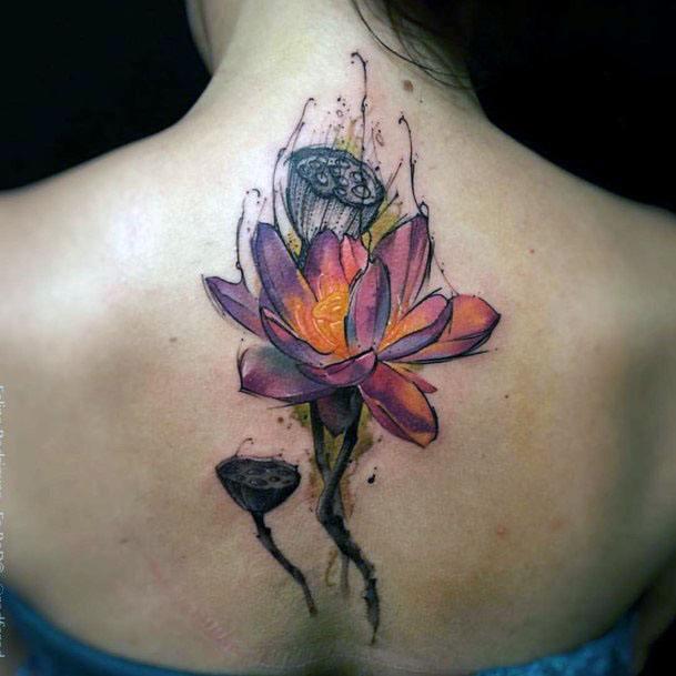 Womens Back Orange Floral Tattoo Spine