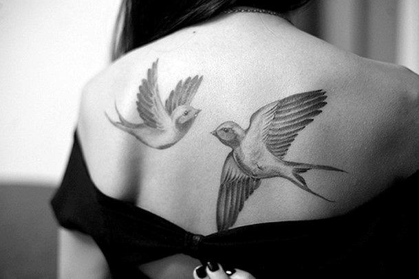 Womens Back Pair Of Doves Tattoo