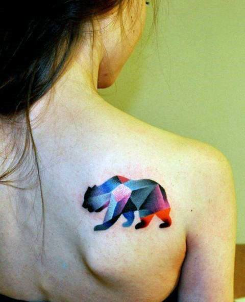 Womens Back Shoulder Gorgeous Bear Tattoo