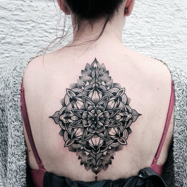 Womens Back Spine Designer Mandala Tattoo