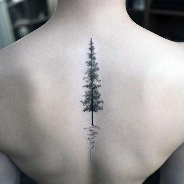 Womens Back Spine Pine Tree Tattoo