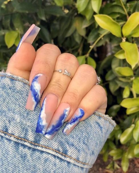 Womens Beach Blue Water Waves Nails Art