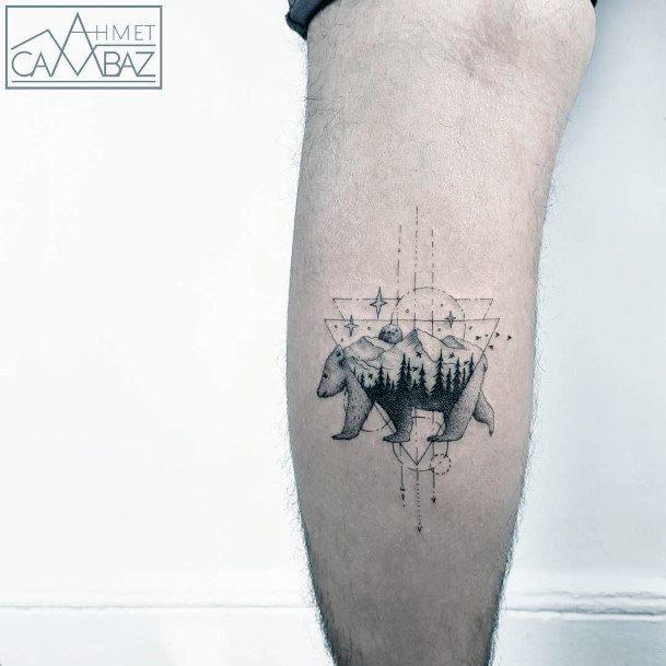 Womens Bear Tattoo Ankles