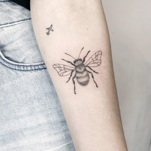 Womens Beautiful Bee Tattoo On Hands