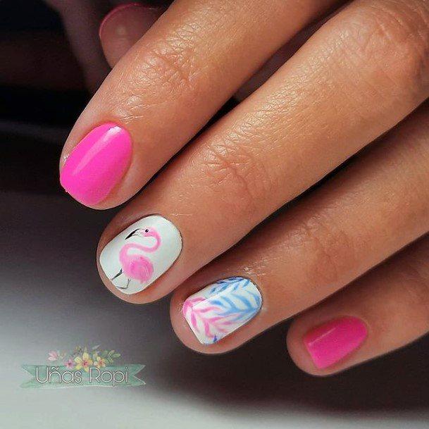 Womens Beautiful Flamingo Nails