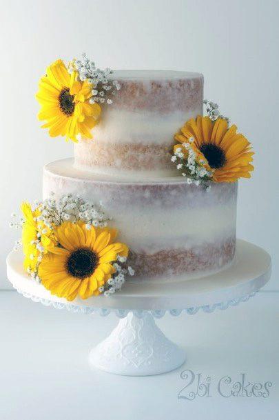 Womens Beautiful Sunflower Wedding Cake