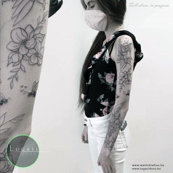 Womens Bee Tattoo Full Sleeves