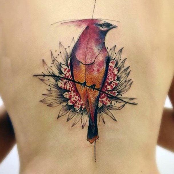 Womens Bird Tattoo Spine