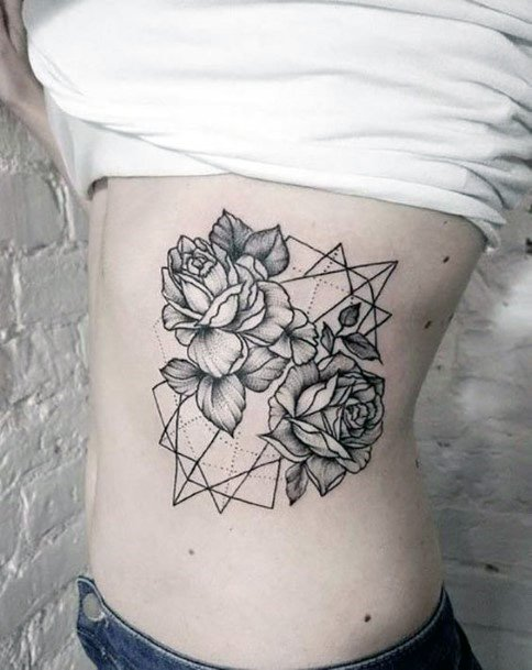 Womens Black And Grey Roses Geometric Tattoo Torso