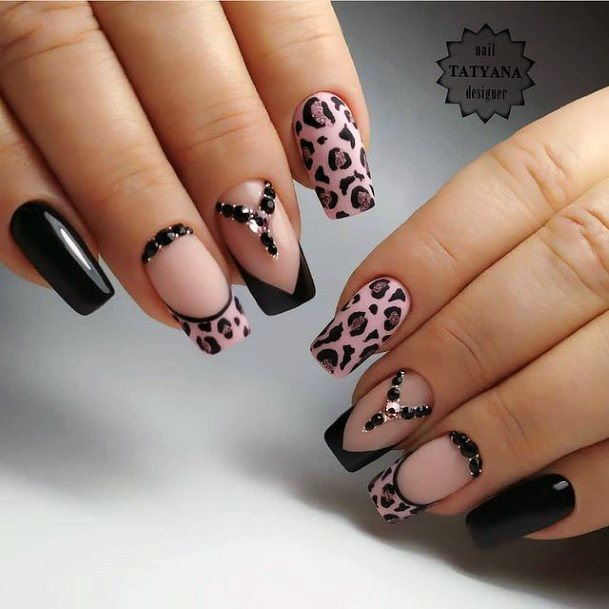 Womens Black And Pink Leopard Nails