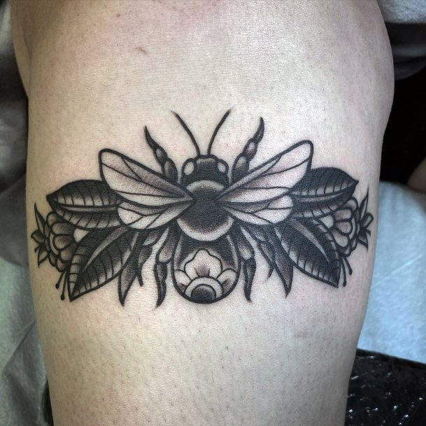 Womens Black Bee With Wings Tattoo