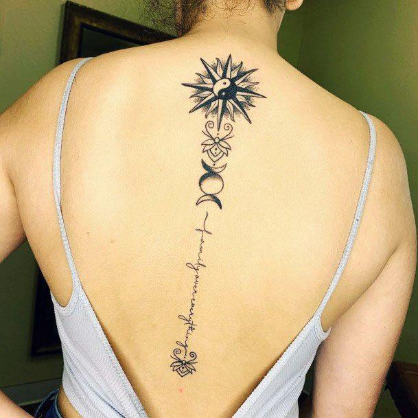 Womens Black White Spine Tattoo