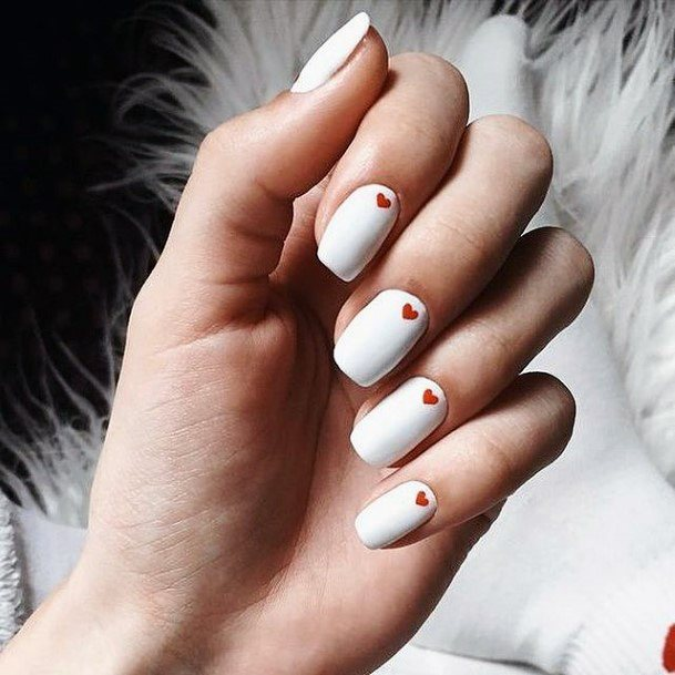 Womens Bleach White Nails With Red Hearts Romantic