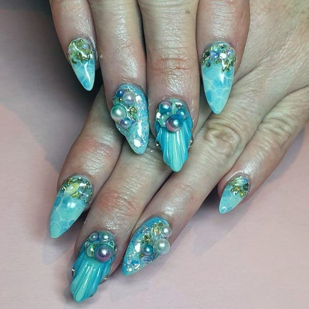 Womens Blue Water Nails With Gems Art