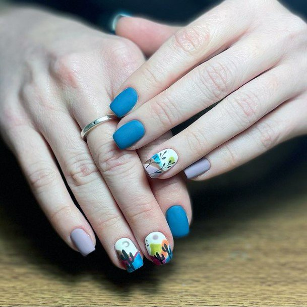 Womens Brilliant Blue Cactus Nails