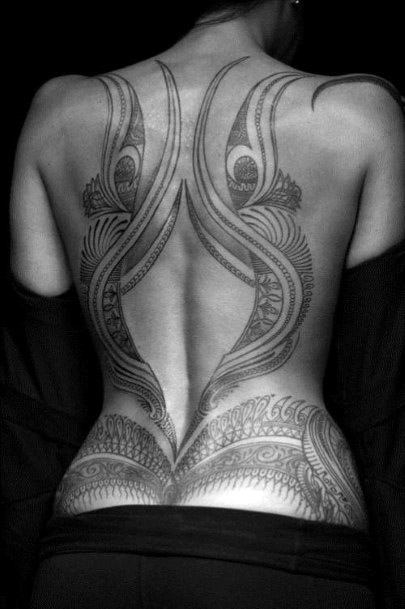 Womens Brilliant Tribal Tattoo Back