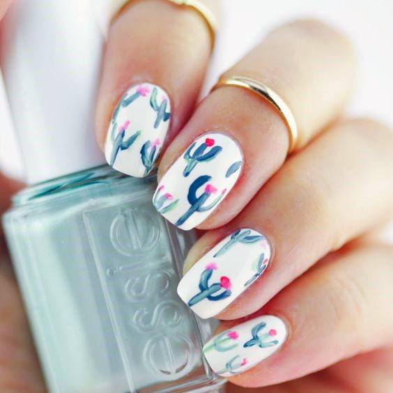 Womens Cactus Pattern On Nails White Art