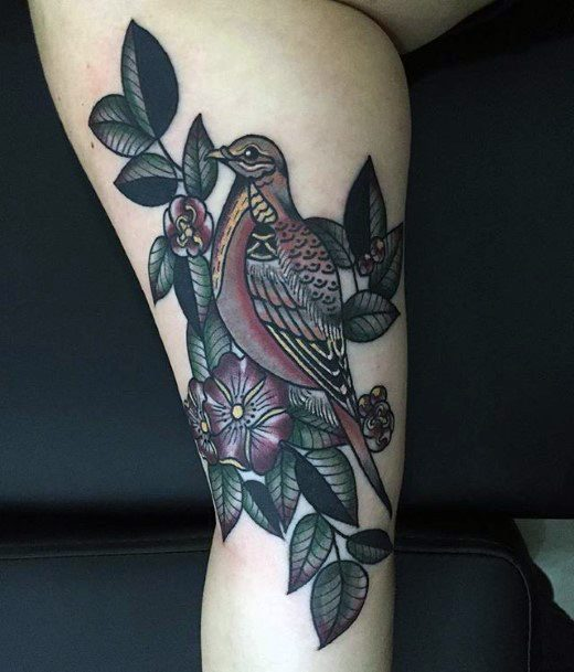 Womens Calf Olive Green Dove Tattoo