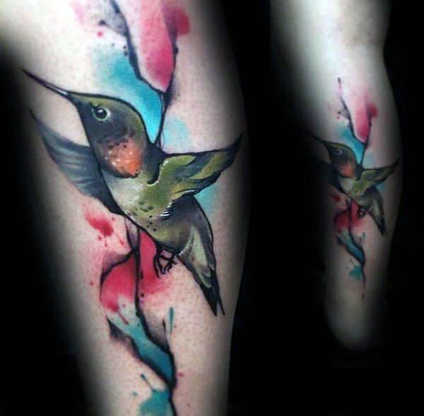 Womens Calves Hummingbird Colorful Tattoo Art