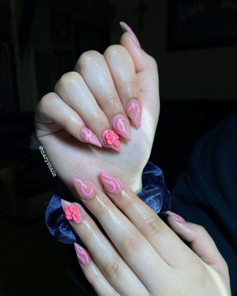 Womens Candy Pink 3d Flowers Nails