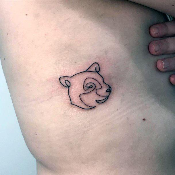 Womens Cartoon Bear Face Tattoo Torso