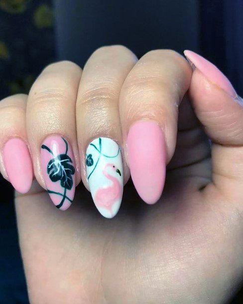 Womens Charming Flamingo Nails
