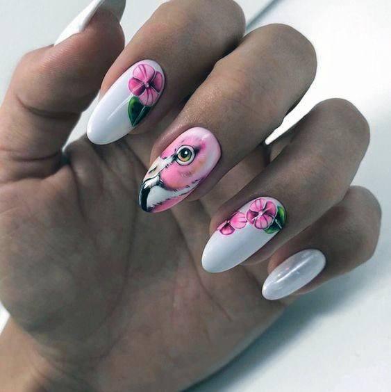 Womens Cherry Blossom Flamingo Nail