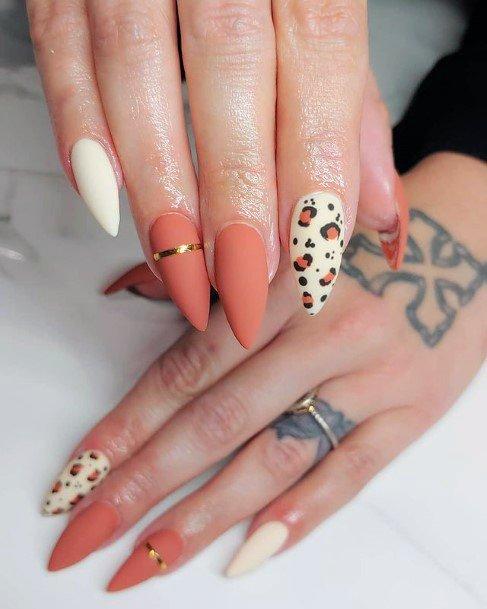 Womens Classy Orange Gold Banded Leopard Nails Art