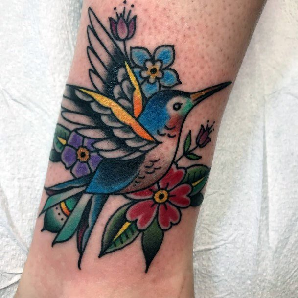 Womens Colorful Hummingbird And Flowers Tattoo