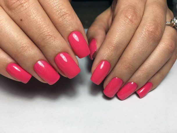 Womens Coral Pink Colored Nails