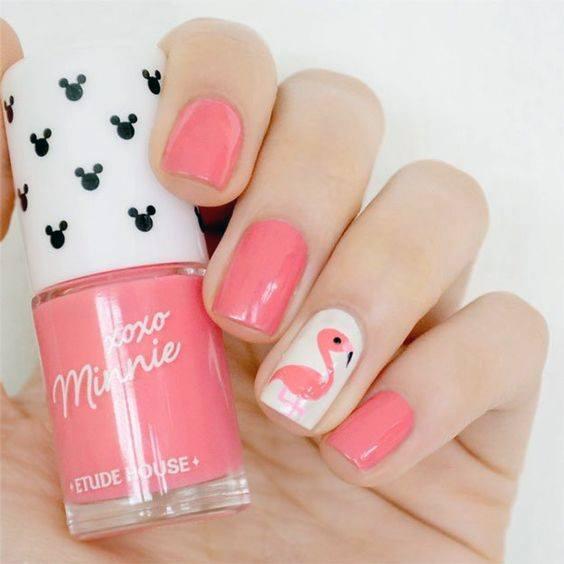 Womens Coral Pink Flamingo Nails