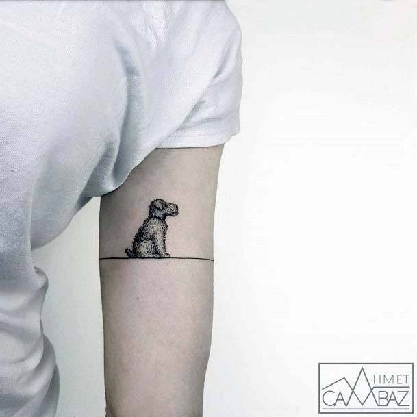 Womens Cute Small Dog Tattoo On Arms